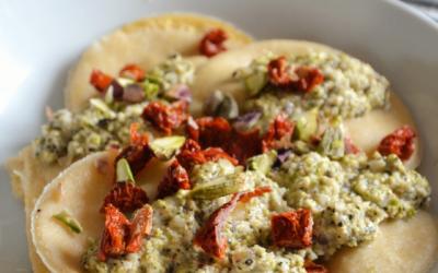 Ravioli ricotta, tomates séchées et pesto de pistache